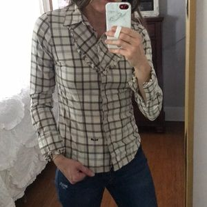 Volcom plaid western top